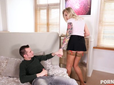 Busty maid Kayla Green gets a load of cum all over her big enhanced tits GP1247