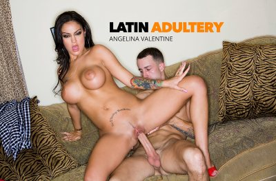 Angelina Valentine hot latina fucks a big cock (with Chris Strokes