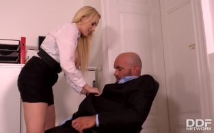 Cum-Covered Cans: Boss Crams Cock into Buxom Babe's Mouth – Angel Wicky, Larry (2017)