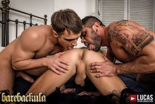 Barebackula Grants Jonathan Harder A Raw Threesome – Alex Kof, James Castle, Mario Domenech (2016)