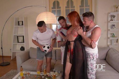 Cramming Her Fuckholes – Redhead Banged By Three Soccer Fans – Eva Berger, Dean Van Damme, Mugur & Choky Ice (2016)