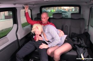 FuckedInTraffic – Naughty Czech blondie Lucci gets fucked by cab driver in the backseat (2017)