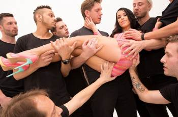 Megan Rain Slutty Teen In A 10 Cock Blowbang! It's RAINING Cum! (2016)