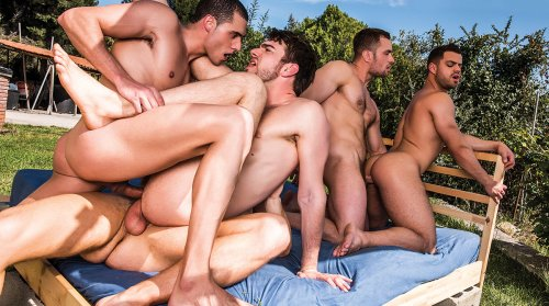 Zander Craze And Stas Landon's Five-Man Orgy (LucasEntertainment / 2016)