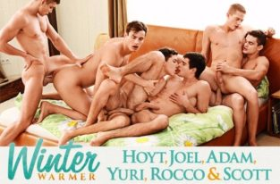 Adam Archuleta, Hoyt Kogan, Joel Birkin, Rocco Alfieri, Yuri Alpatow & Scott Reeves' bareback orgy – Part 2 (2017)