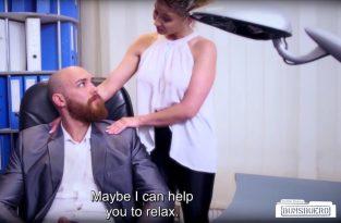 BumsBuero – Sexy German secretary Izzy Mendosa consoles depressed employee in hot fuck (2017)